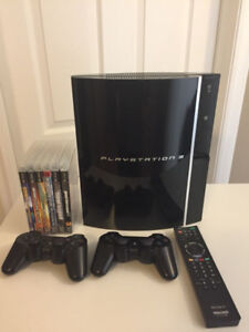 Sony Playstation 3 PS3 6 games, 2 controllers, bluetooth remote