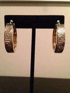 14K Yellow Gold Greek Key Pattern Large Hoop Earrings