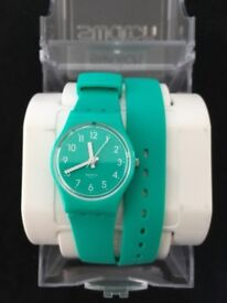 Swatch watch with double wrap strap