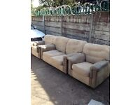 Used condition fabric 2 seater sofa bed 2 armchairs £70 good bargain call now