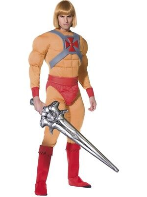 He-man Adult Costume (Adult He-Man Masters of the Universe Fancy Dress Costume + Sword Prince)