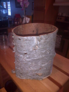 White birch waste paper basket