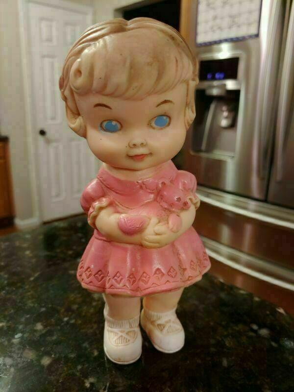 """1950s Vintage EDWARD MOBLEY 8"""" Baby GIRL BLUE EYES Pink Dress Doll w Teddy Bear"""