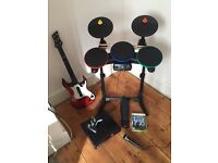 XBOX 360 250gb, Drums, Guitar, Mic & controller