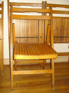 Set of 4 Folding Wooden Chairs