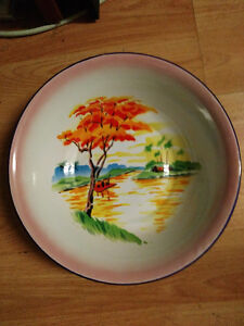 Mid Century Lucky Elephant Tropical Trees Serving Bowl