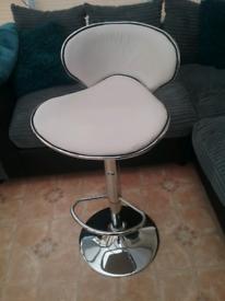 Cream and silver bar stool
