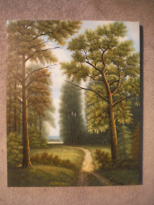 20X16 Oil on Canvas Painting of Pine Forest