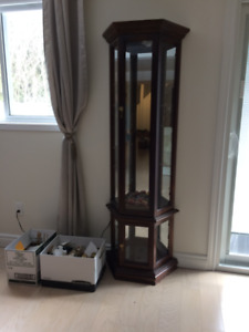 Wood framed Glass Curio Display Cabinet