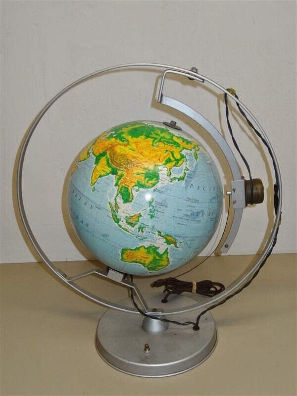 "Vintage 1967 12"" Nystrom Motorized WORLD GLOBE Orbiting Satellite Demonstration"