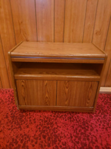 Wooden TV Stand Cupboard on Lazy Susan Entertainment storage