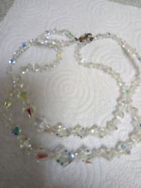 LADIES NEW, DOUBLE STRAND, CRYSTAL NECKLACE, WITH SILVER CLASP