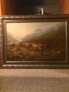 Original oil painting by J.T Huges. Oil on Board