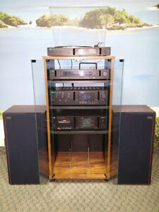Sansui turntable, amplifier, deck, tuner and speakers with rack