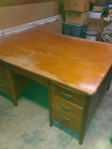 Large Antique Oak Partners Desk