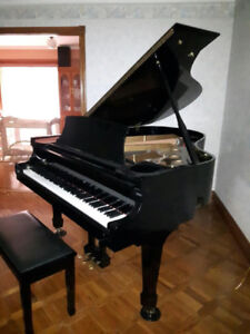 Grand Piano, Samick, polished ebony with matching bench.