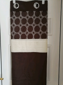 """2 Pairs Of Dunelm Brown/Ivory Eyelet Curtains 65x72"""""""