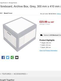 Pressel Fibreboard, Archive Box, Grey, 300 mm x 410 mm x 290 mm (package 10 each) RRP £25