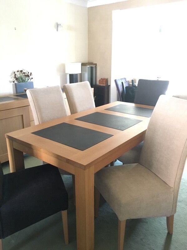 Oak Slate Dining Table 6 Chairs In Cambridge Cambridgeshire Gumtree