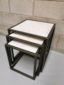 Furniture Village Wind White Marble & Iron Industrial Nest of Tables