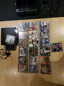 PS3 system with 19 games and ps move, guitars