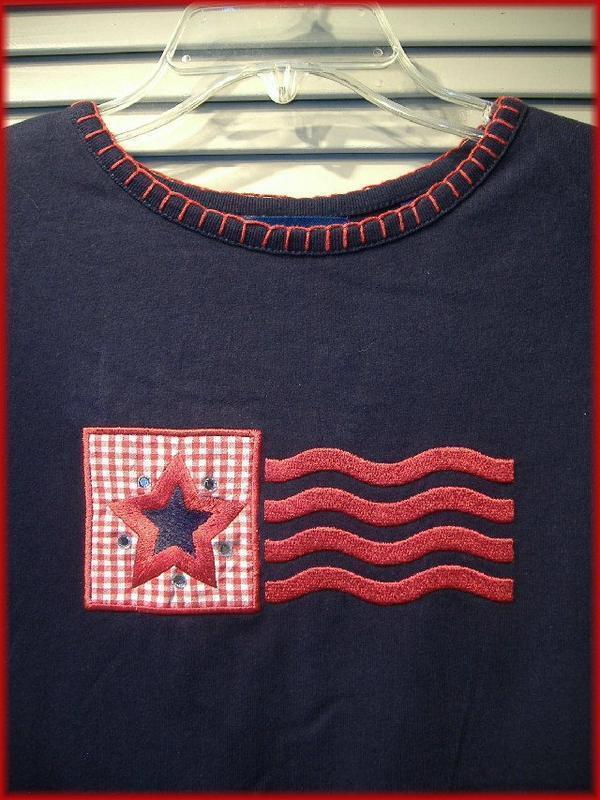 KAREN SCOTT  Navy Blue Knit Top (M) Embroidered Gingham Patch - Star & Stripes