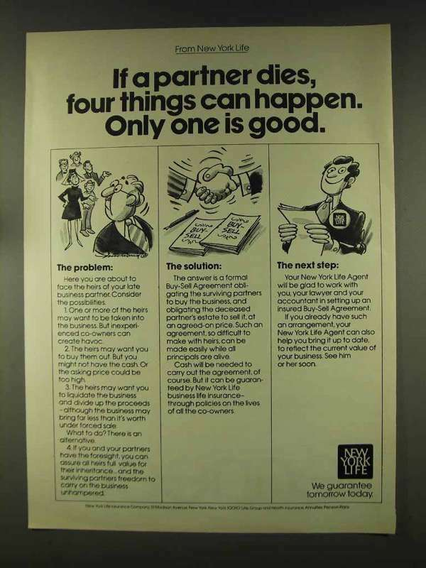 1977 New York Life Insurance Ad - If a Partner Dies