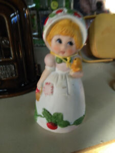 Vintage Bisque Porcelain igural Bell Strawberry Patches Figurine