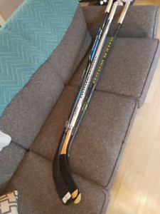 3 barley used ball hockey sticks