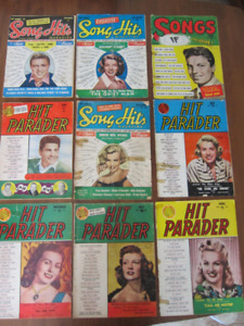 Lot de Revues Popular Sons, Hit Parader , Songs hit from  1950's