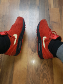 nike air max 1 prm pimento red mens suede trainers size uk
