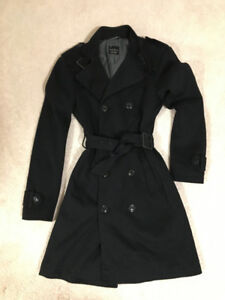 Like new navy Zara thick trench small; Vuitton Lululemon roots