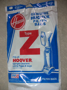 Hoover, Vacuum filter bags and belt.  Type Z bags (Reduced)
