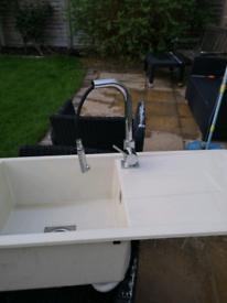 Kitchen granite composite sink with tap