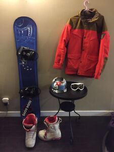 Snowboard, Bindings, Boots and other gear