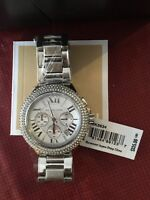 Authentic Michael Kors ladies watch, silver with stone