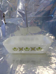 Anchor Hocking 1 qt Casserole Dish 'Milk White w Green Pattern' Peterborough Peterborough Area image 1