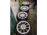 """Bmw 18"""" alloy wheels x 4 will good road legal tyres"""