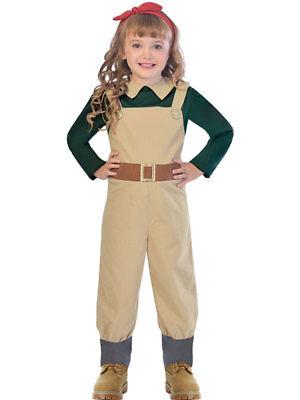Child Kids Land Girl WW2 Costume 1940s Wartime Fancy Dress Book Day Girls WWII - Ww2 Costumes Kids