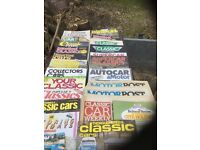 A large number of expensive classic car magazines