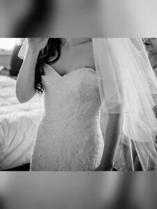 Beautiful beaded lace mermaid style wedding dress