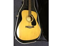 Yamaha acoustic guitar and case