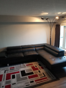 Leather-look Black Sectional