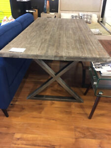 Modern solid pine industrial rustic harvest dining table