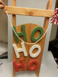 Christmas Wooden Sled Wall Hanging Decoration Sleigh
