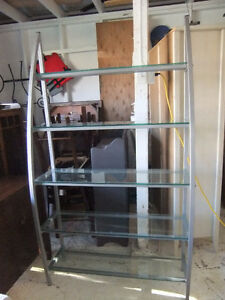 glass and metal shelving display unit in exc cond