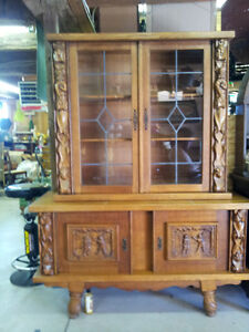 Solid Oak Heavy Carved Danish Sideboard/Display Cabinet