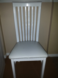 Chair -- Leather, Wood, Metal : White High Back : Exc Condition