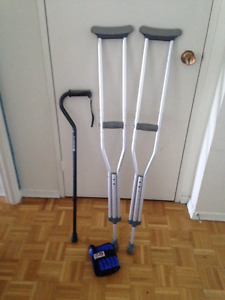 crutches, cane and ankle weight