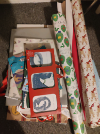 Variety of gift bags and wrapping paper
